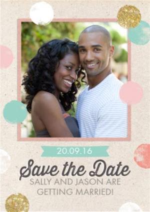 Greeting Cards - Colourful Polka Dot Save The Date Wedding Card - Image 1