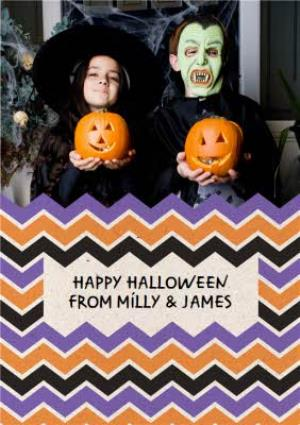 Greeting Cards - Chevron Design Happy Halloween Photo Card - Image 1