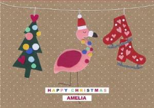 Flamingo Christmas Cards.Felt Tree Skates And Flamingo Christmas Card