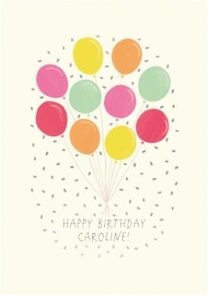 Greeting Cards - Bunch Of Colourful Balloons Personalised Birthday Card - Image 1