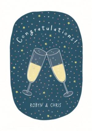 Greeting Cards - Champagne Glass Illustration Personalised Congrats Card - Image 1