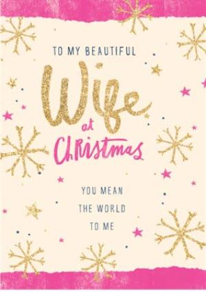 Greeting Cards - Glitter Effect Wife At Christmas Card - Image 1