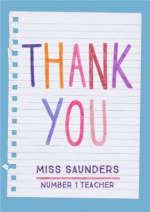 Greeting Cards - Colourful Lettering Personalised Thank You Teacher Card - Image 1
