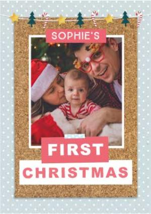 Greeting Cards - Babys First Christmas Cork Collage Photo Upload Christmas Card - Image 1