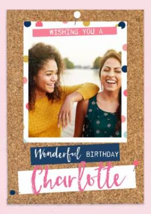 Greeting Cards - Birthday Photo Upload Card for her - Wonderful Birthday - Image 1