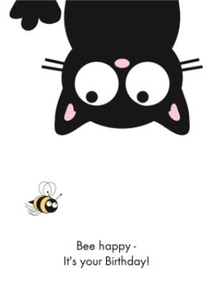 Greeting Cards - Bee Happy Cat Personalised Happy Birthday Card - Image 1