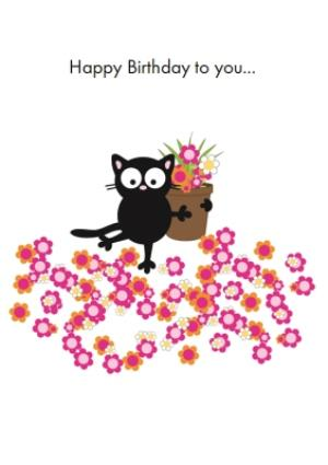 Black Cat With Flower Pot Personalised Happy Birthday Card