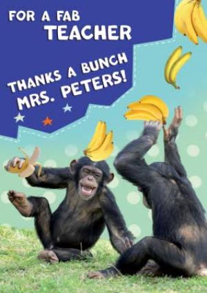 Greeting Cards - Cheeky Monkeys Thanks A Bunch Personalised Teacher Card - Image 1