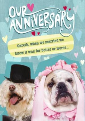 Greeting Cards - Bridal Bulldog Funny Personalised Happy Anniversary Card - Image 1