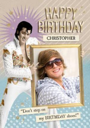 Greeting Cards - Elvis Personalised Photo Upload Happy Birthday Card - Image 1