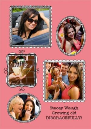 Greeting Cards - Bright Pink Photo Frame Personalised Card - Image 1