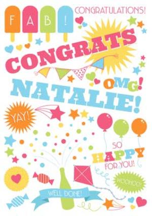 Greeting Cards - Fab, So Happy For You, Well Done Personalised Congratulations Card - Image 1