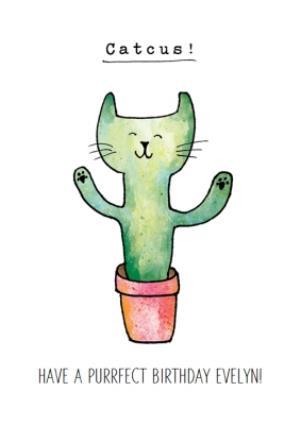 Funny Cat Cactus Catcus Birthday Card