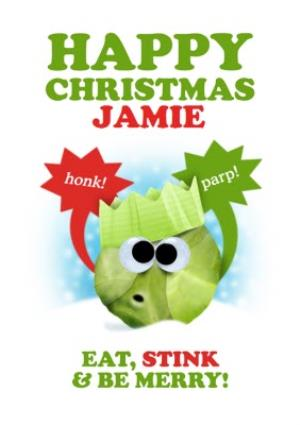 Greeting Cards - Farting Brussels Sprout Personalised Christmas Card - Image 1