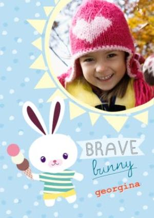 Greeting Cards - Brave Bunny Personalised Photo Upload Get Well Soon Card - Image 1