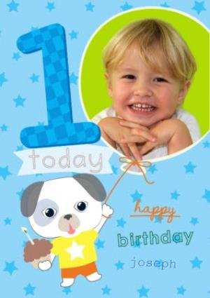 Greeting Cards - Cartoon Puppy Happy First Birthday Photo Card - Image 1