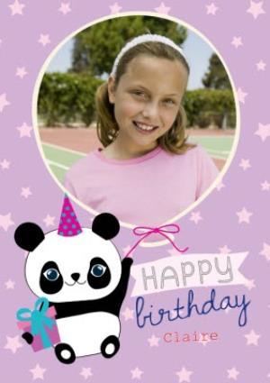 Greeting Cards - Cartoon Panda Personalised Happy Birthday Card - Image 1