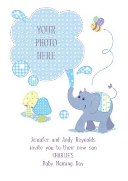 Greeting Cards - Little Blue Elephant Personalised Photo Upload Baby Naming Day Invitation Card - Image 1