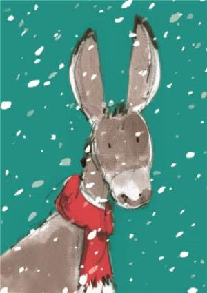 Greeting Cards - Donkey In The Snow Personalised Merry Christmas Card - Image 1