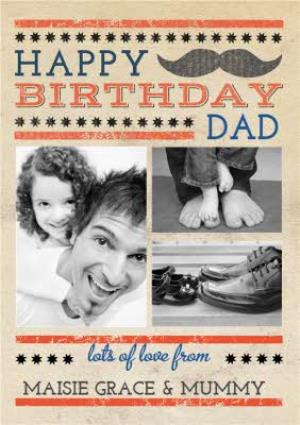Greeting Cards - Classic Stache Happy Birthday Dad Photo Card - Image 1