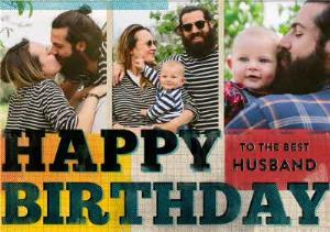 Greeting Cards - Colourful Grid Happy Birthday To The Best Husband Photo Card - Image 1
