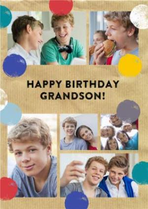 Greeting Cards - Colourful Spots Personalised Photo Upload Happy Birthday Card For Grandson - Image 1