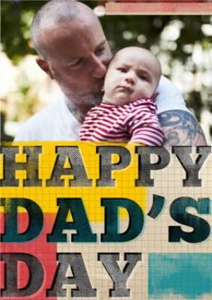 Greeting Cards - Colourful Grid And Block Letters Happy Father's Day Photo Card - Image 1
