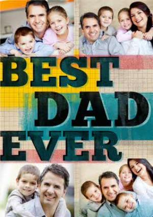 Greeting Cards - Cubed Best Dad Ever Personalised Photo Upload Card - Image 1