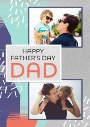 Greeting Cards - Colourful Happy Fathers Day Multi-Photo Card - Image 1
