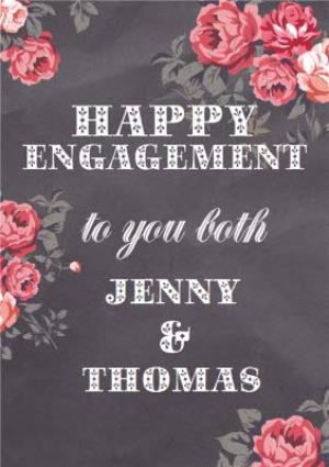 Greeting Cards - Bright Pink Flowers Personalised Happy Engagement Card - Image 1