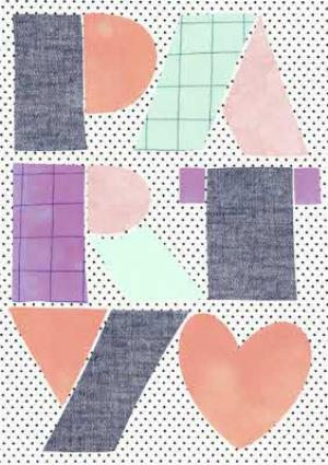 Greeting Cards - Colourful Block Letters And Polka Dot Party Card - Image 1