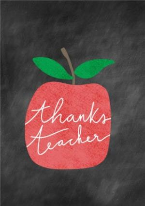 Greeting Cards - Apple On Chalkboard Thank You Teacher Card - Image 1