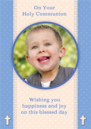Greeting Cards - Cream And Blue Personalised Photo Upload Holy Communion Card - Image 1