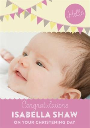 Greeting Cards - Congratulations With Bunting Personalised Christening Day Card - Image 1