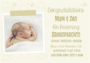 Greeting Cards - Clouds And Stars Photo Upload Congratulations On Becoming Grandparents Card - Image 1