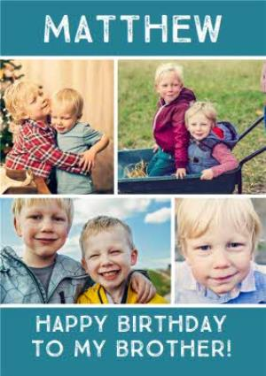 Blue Background Photo Upload Collage Birthday Card