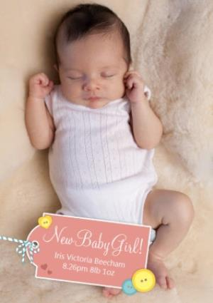 Greeting Cards - Coral Tag Personalised Photo Upload New Baby Girl Card - Image 1