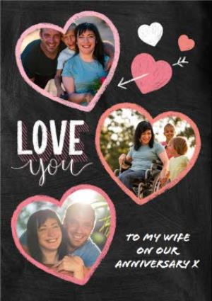 Greeting Cards - Anniversary Card - Love You - Wife - Typographic Photo Upload - Image 1