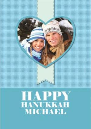 Greeting Cards - Blue Heart Shaped Personalised Photo Upload Happy Hanukkah Card - Image 1