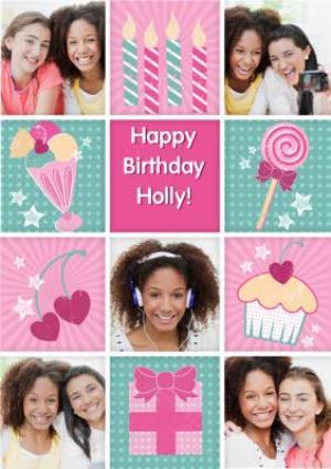 Greeting Cards - Girly Ice Cream Sundae Grid Personalised Photo Upload Happy Birthday Card - Image 1