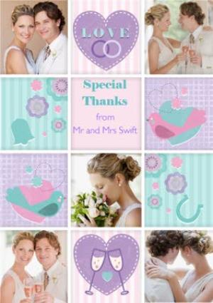 Greeting Cards - Bright Pastels Personalised Photo Wedding Thank You Card - Image 1