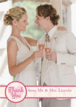 Greeting Cards - Colourful Ribbon Personalised Wedding Thank You Photo Card - Image 1