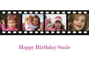 Greeting Cards - Camera Film Strip  Personalised 4 Photo Upload Happy Birthday Card - Image 1