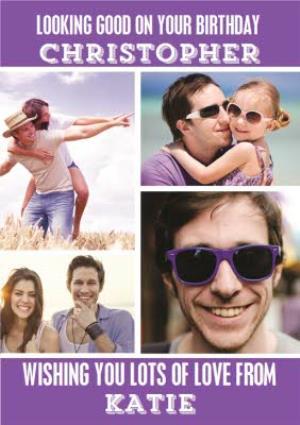 Greeting Cards - Bright Purple Multi-Photo Personalised Birthday Card - Image 1