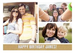 Greeting Cards - Classic 3 Square Personalised Photo Upload Happy Birthday Card - Image 1