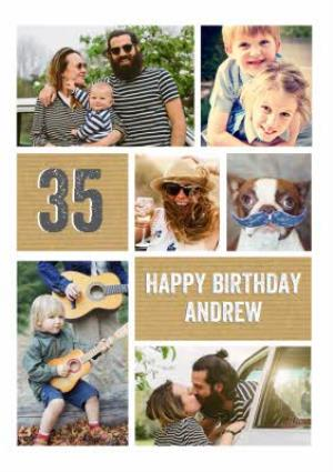 Greeting Cards - 35th Birthday Card - Photo Upload Age Card - Image 1