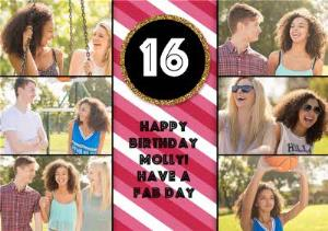 Greeting Cards - Colourful Stripes And Gold Glitter Multi-Photo Happy 16Th Birthday Card - Image 1