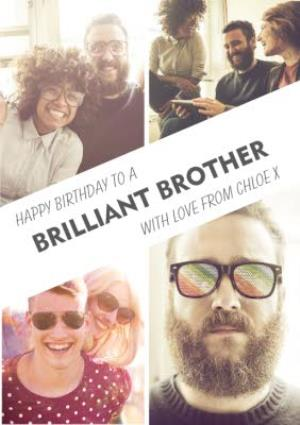 Greeting Cards - Brilliant Brother 4 Photo Upload Card - Image 1