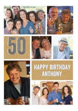 Greeting Cards - 50th Birthday Photo Upload Card  - Image 1