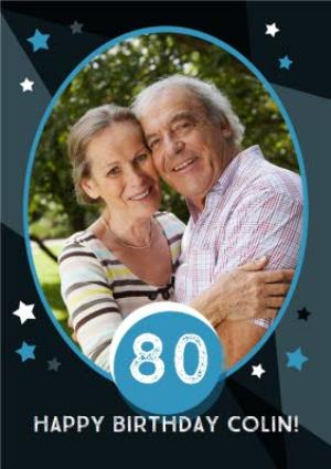 Greeting Cards - 80th Birthday Photo Upload Card - Image 1